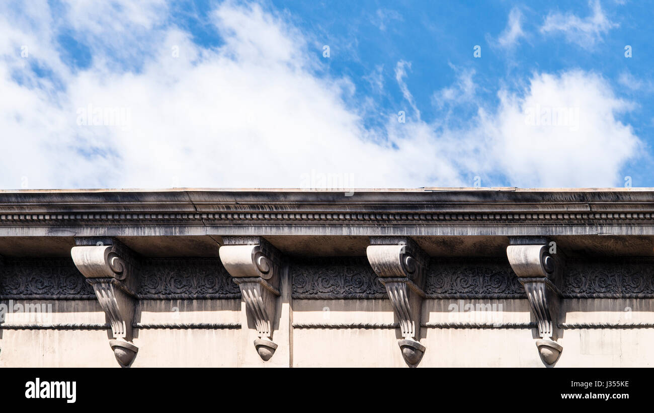Roof facade with ornate cornice on the back lots of Paramount Studios. - Stock Image