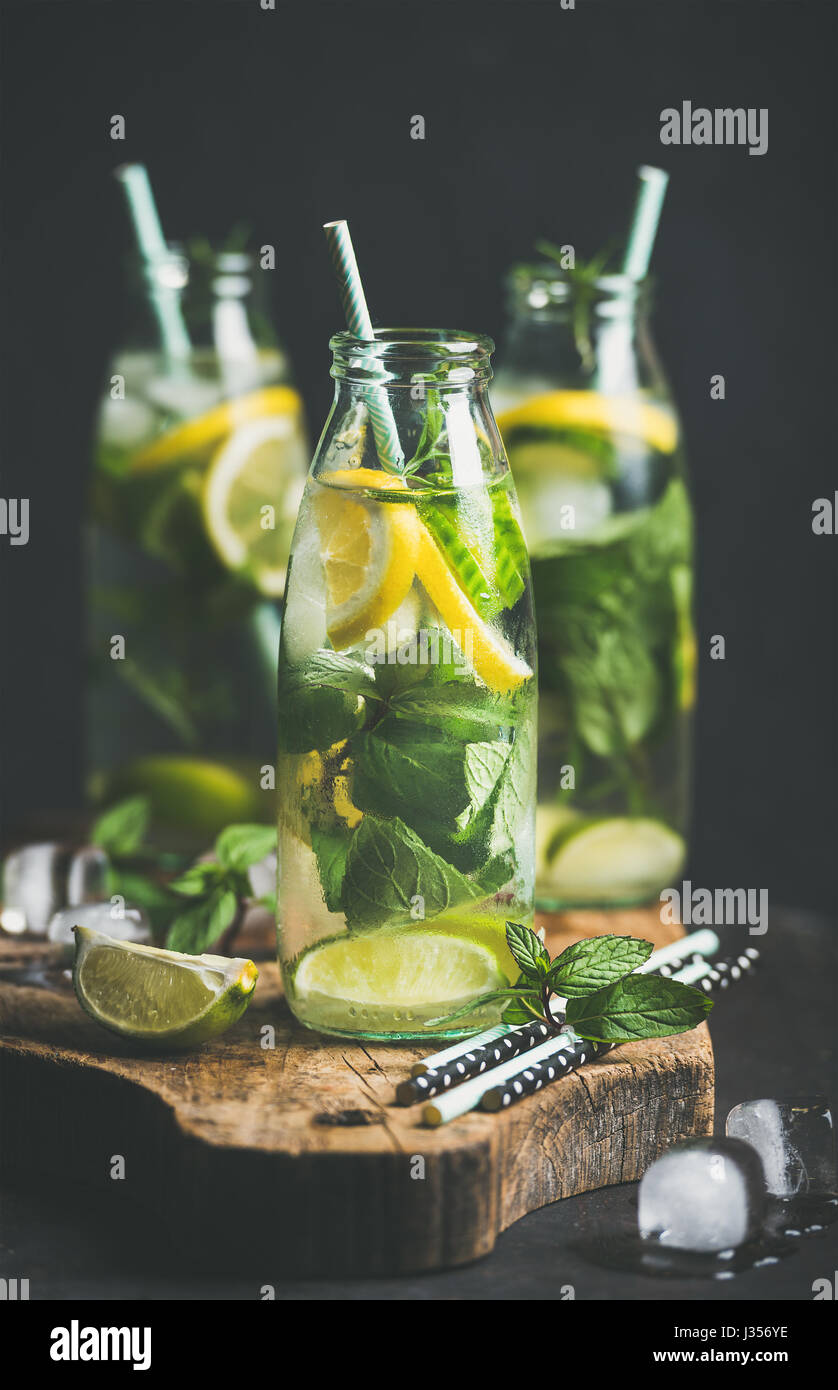 Citrus fruit and herbs infused sassi water in bottles - Stock Image