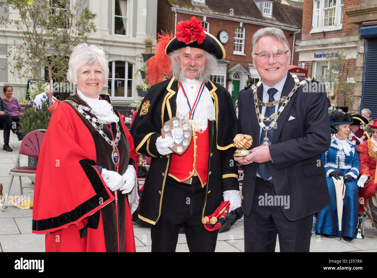 Third Place for the Southern England Town Crier 2017 is David Retter - Honiton. Awards presented by Mayor of Wimborne - Stock Image