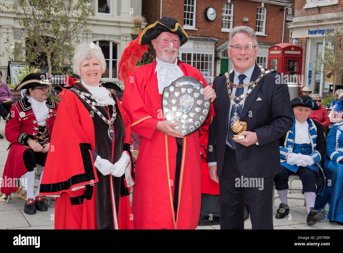 Second Place for the Southern England Town Crier 2017 is John Collingwood - Bridport. Awards presented by Mayor - Stock Image