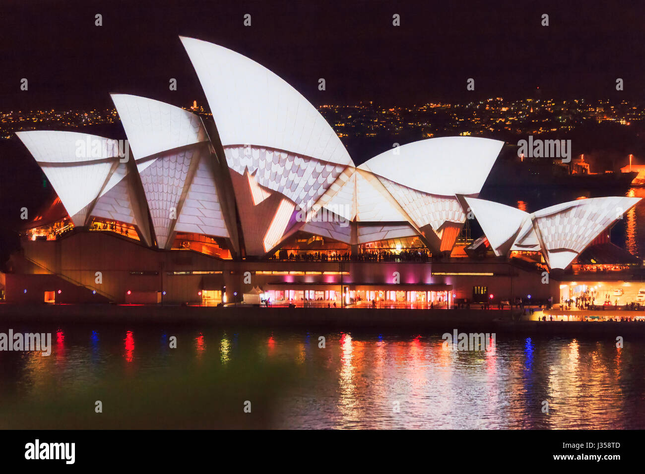 Sydney, Australia - 30 May 2012: Vivid Sydney light show and festival with artistic projection on famous Sydney - Stock Image