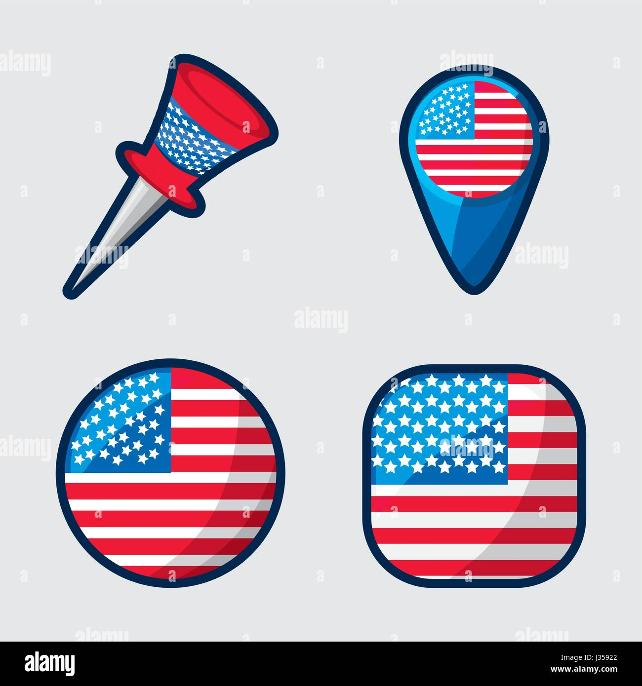 american buttons to encourage the spirit of patriotism - Stock Image