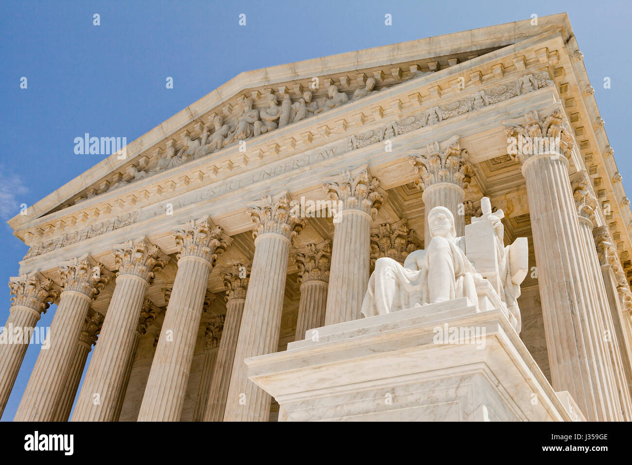 The Authority of the Law statue in front of the US Supreme Court building  - Washington, DC USA - Stock Image