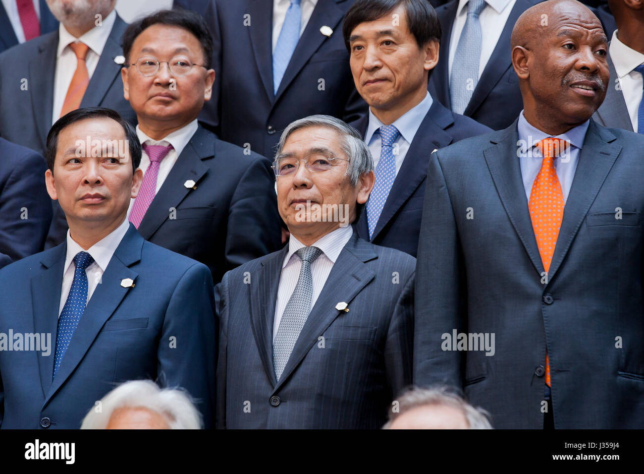Asian nation Finance Ministers during G20 group photo at 2017 IMF Spring Meetings - Washington, DC, USA - Stock Image