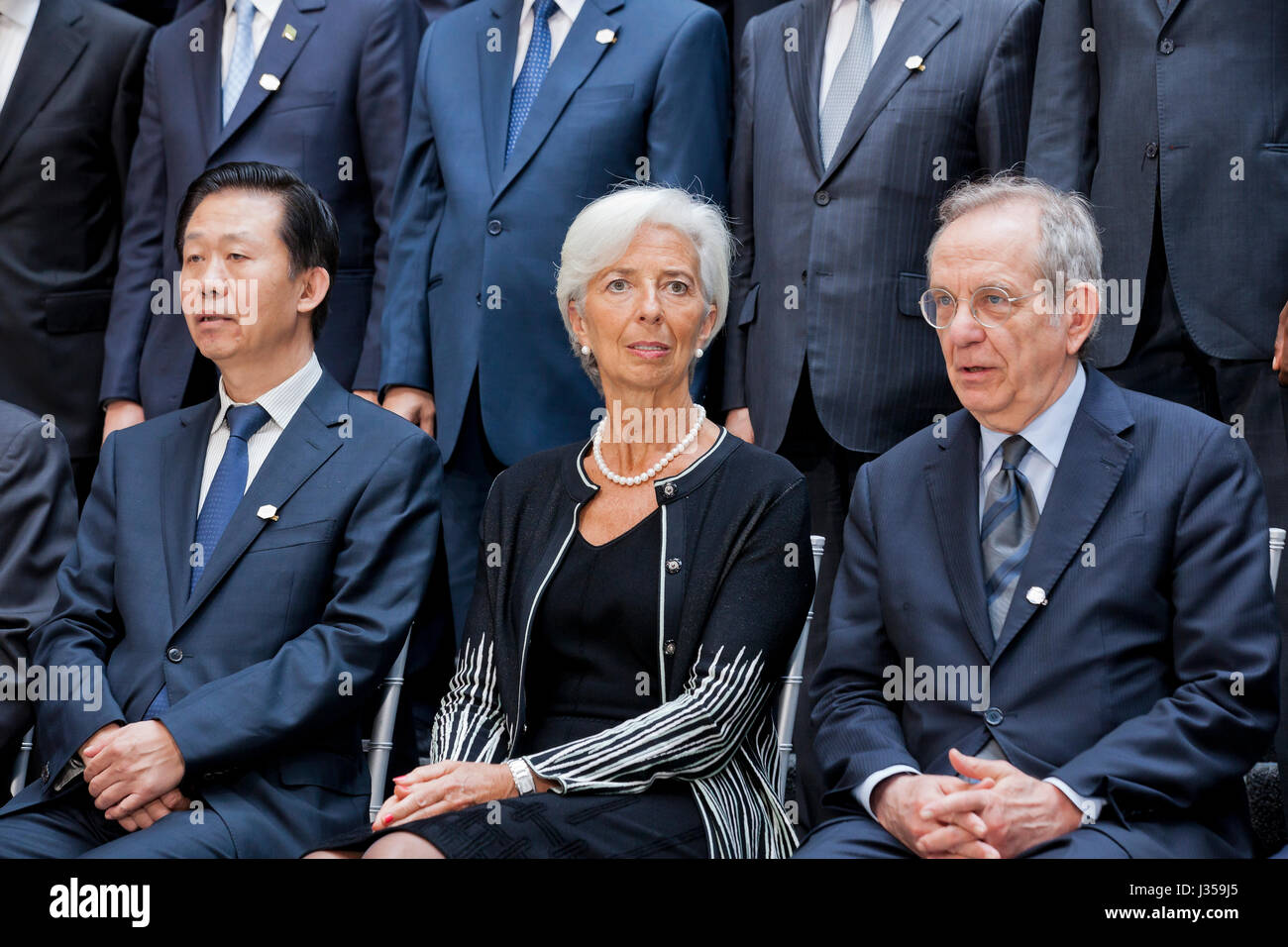 Xiao Jie, China Minister of Finance, Christine Lagarde, IMF Managing Director, and Pier Carlo Padoan, Italian Minister - Stock Image