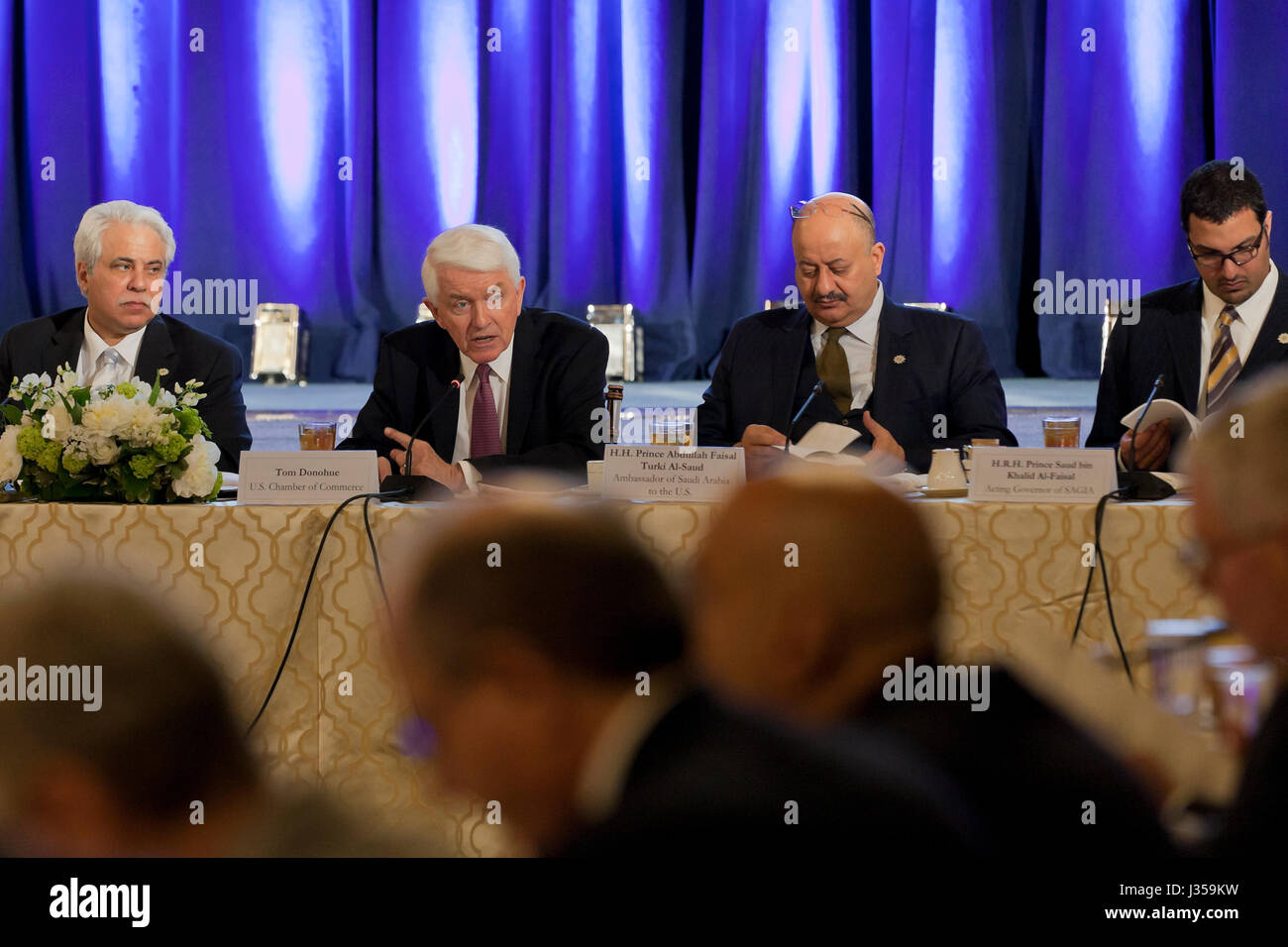 Tom Donohue, CEO/President of US Chamber of Commerce, speaking at US - Saudi CEO Summit  - US Chamber of Commerce, - Stock Image