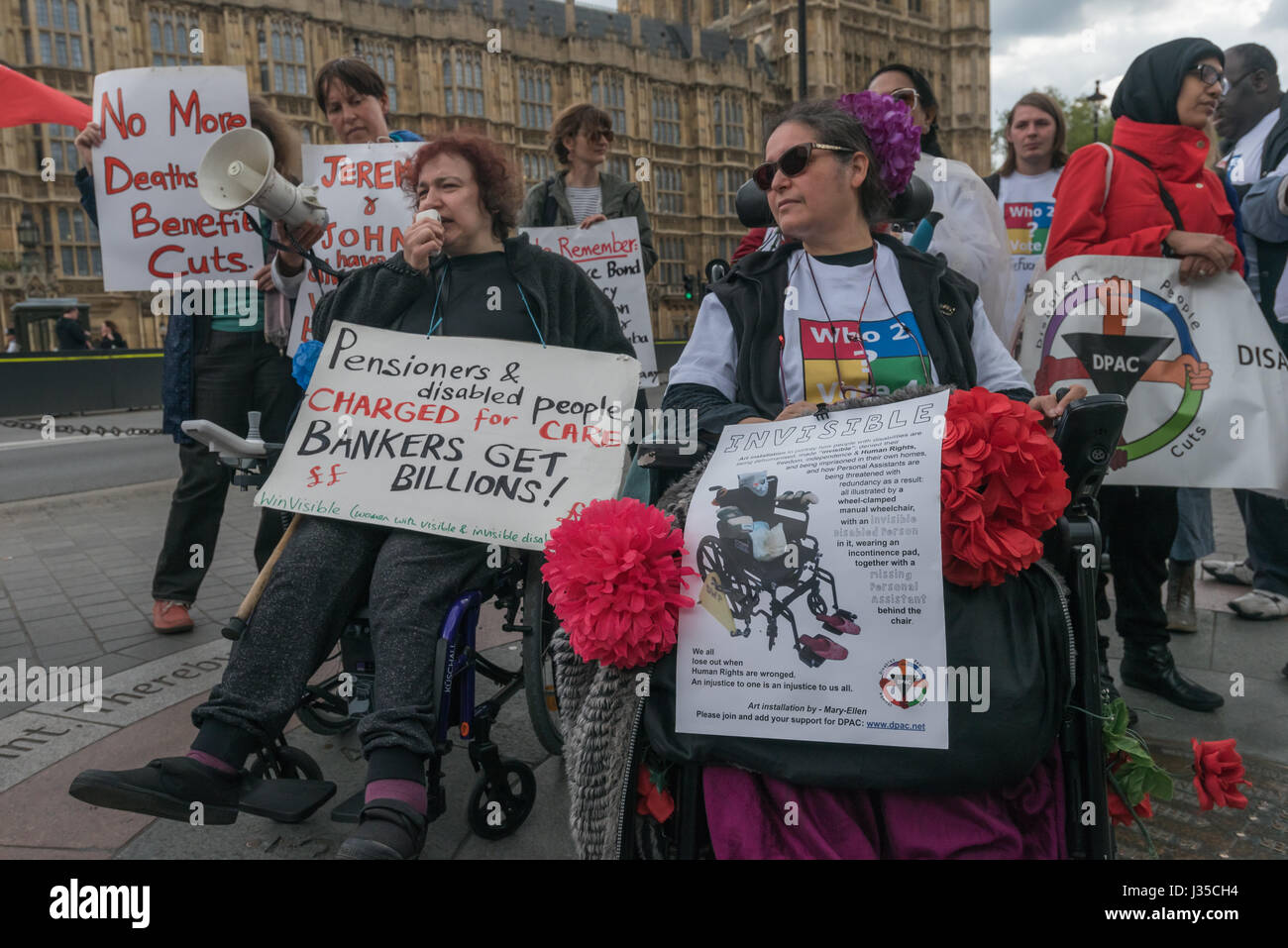 London, UK. 2nd May 2017. Claire Glasman of  WinVisible speaks at the  Disabled People against Cuts (DPAC) protest - Stock Image