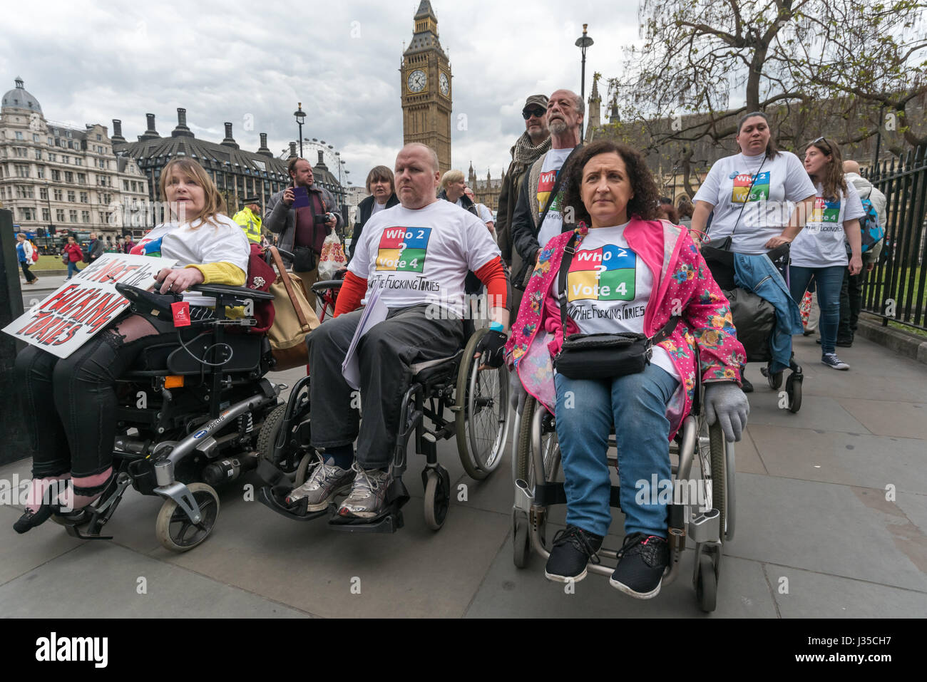 London, UK. 2nd May 2017. Disabled People against Cuts (DPAC) march from Parliament on the last sitting day before - Stock Image
