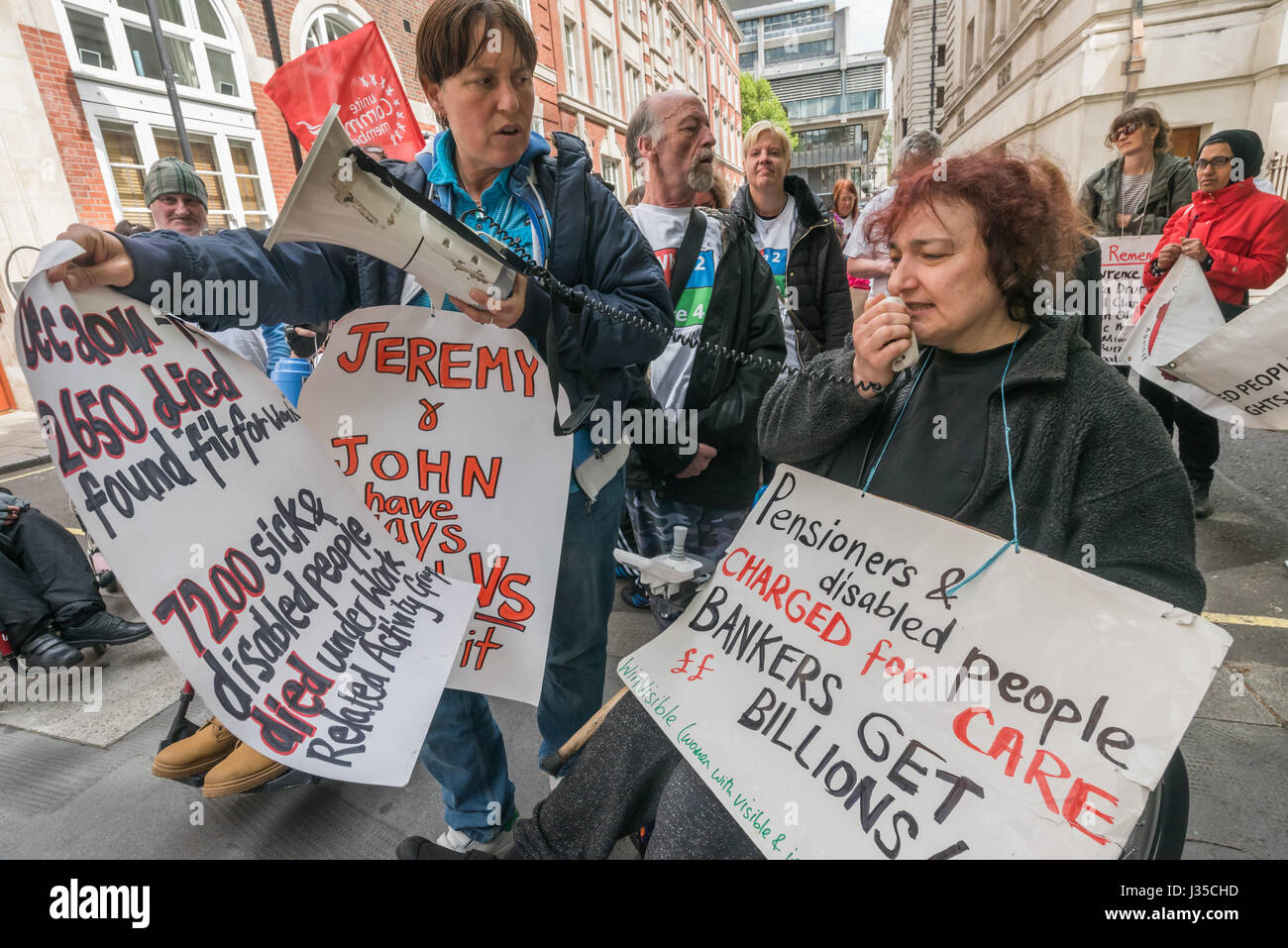 London, UK. 2nd May 2017. Claire Glasman of Winvisible speaks in front of the Tory HQ, in the protest by DPAC (Disabled - Stock Image