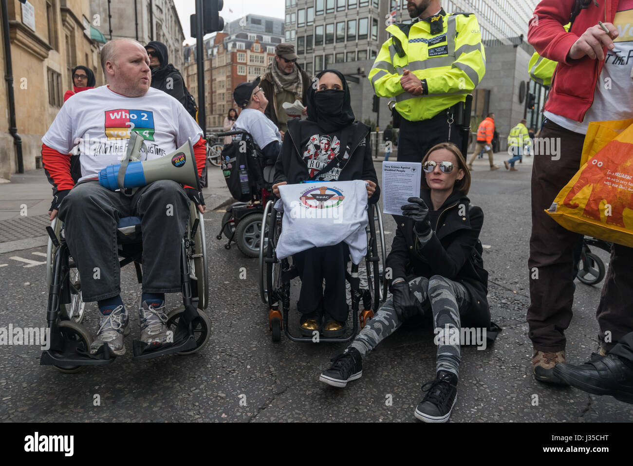London, UK. 2nd May 2017. Disabled People against Cuts (DPAC) protest outside Parliament on the last sitting day - Stock Image