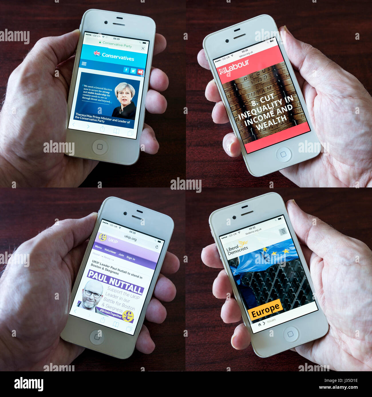 Composite image of smartphone showing the Conservative,Labour,UKIP and The Liberal Democrats websites for the 2017 - Stock Image