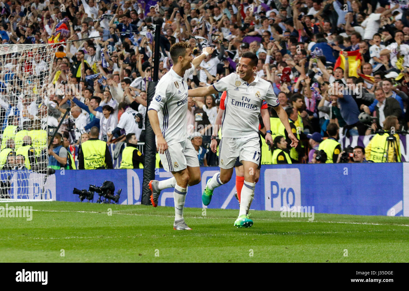 Madrid, Spain. 02nd May, 2017. 07 Cristiano Ronaldo (Real Madrid CF) y 17 Lucas Vazquez (Real Madrid CF) during - Stock Image