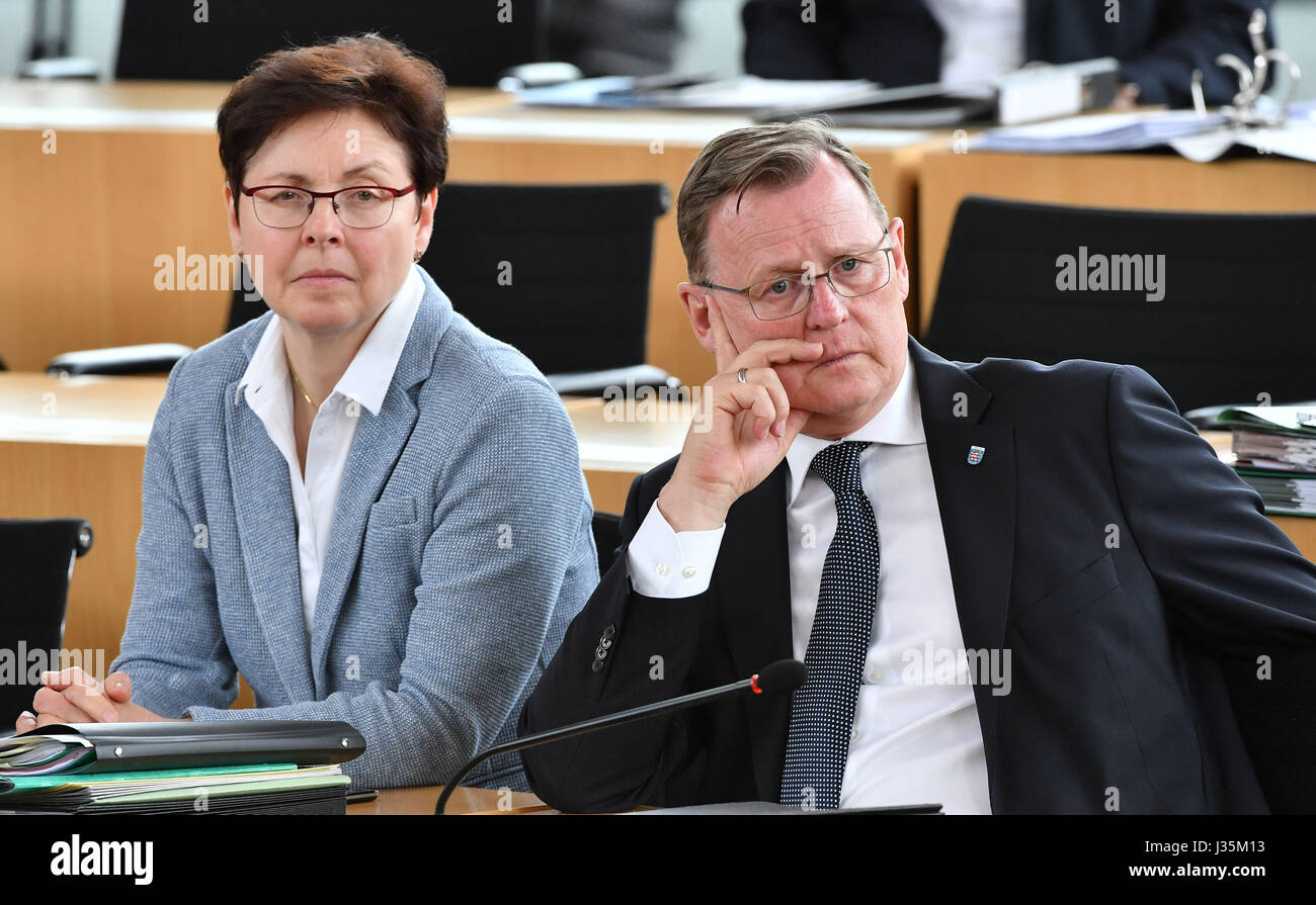 Erfurt, Germany. 03rd May, 2017. Thuringia Premier Bodo Ramelow and State Minister of Finance Heike Taubert (L) - Stock Image