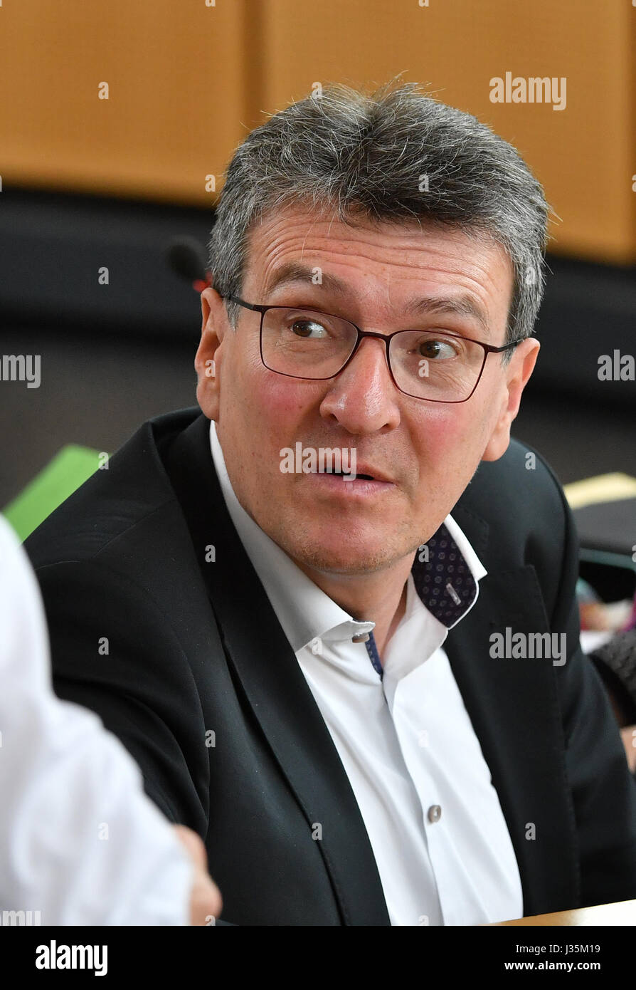 Erfurt, Germany. 03rd May, 2017. Thuringia's Minister for Migration Dieter Lauinger (Alliance 90/The Greens) - Stock Image