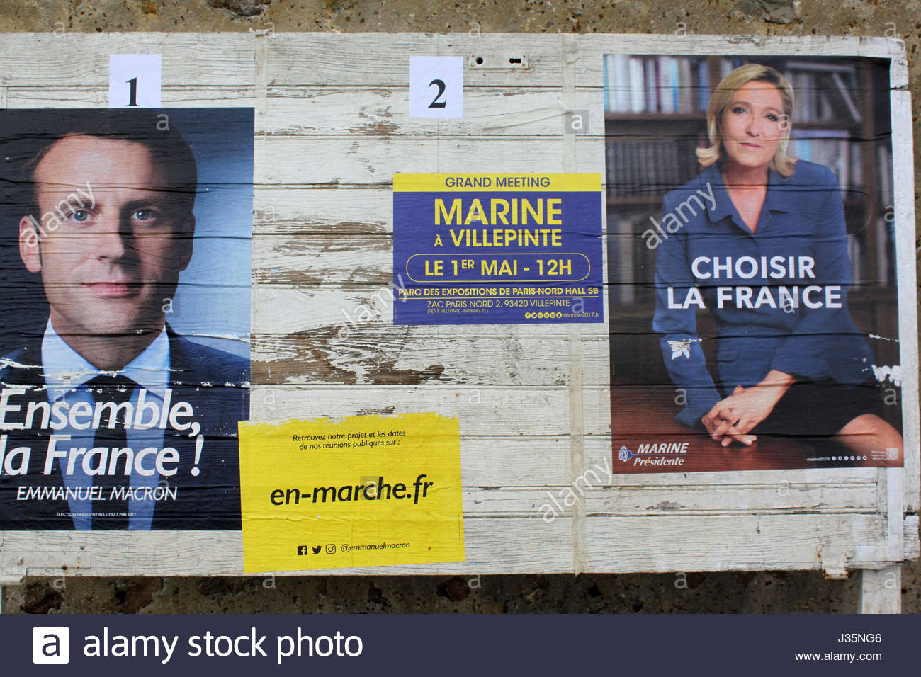 French Presidential Elections 2017 - Emmanuel Macron and Marine Le Pen, candidates for the French presidential election - Stock Image