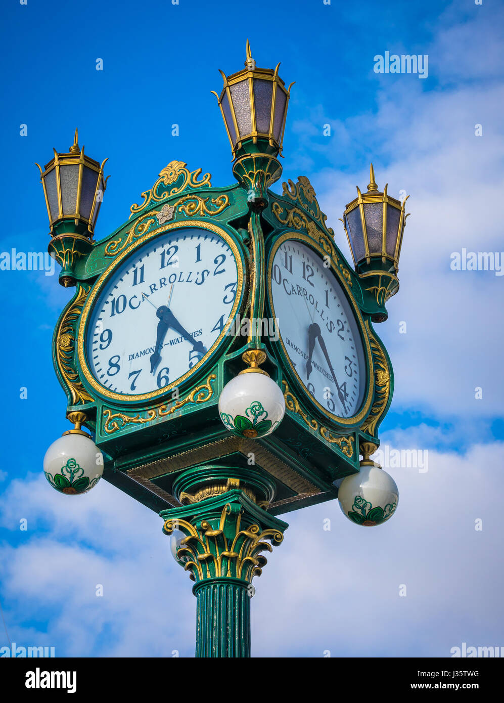 This magnificent clock used to be located downtown at Carroll's Fine Jewelers at 4th Avenue and Pike Street. - Stock Image
