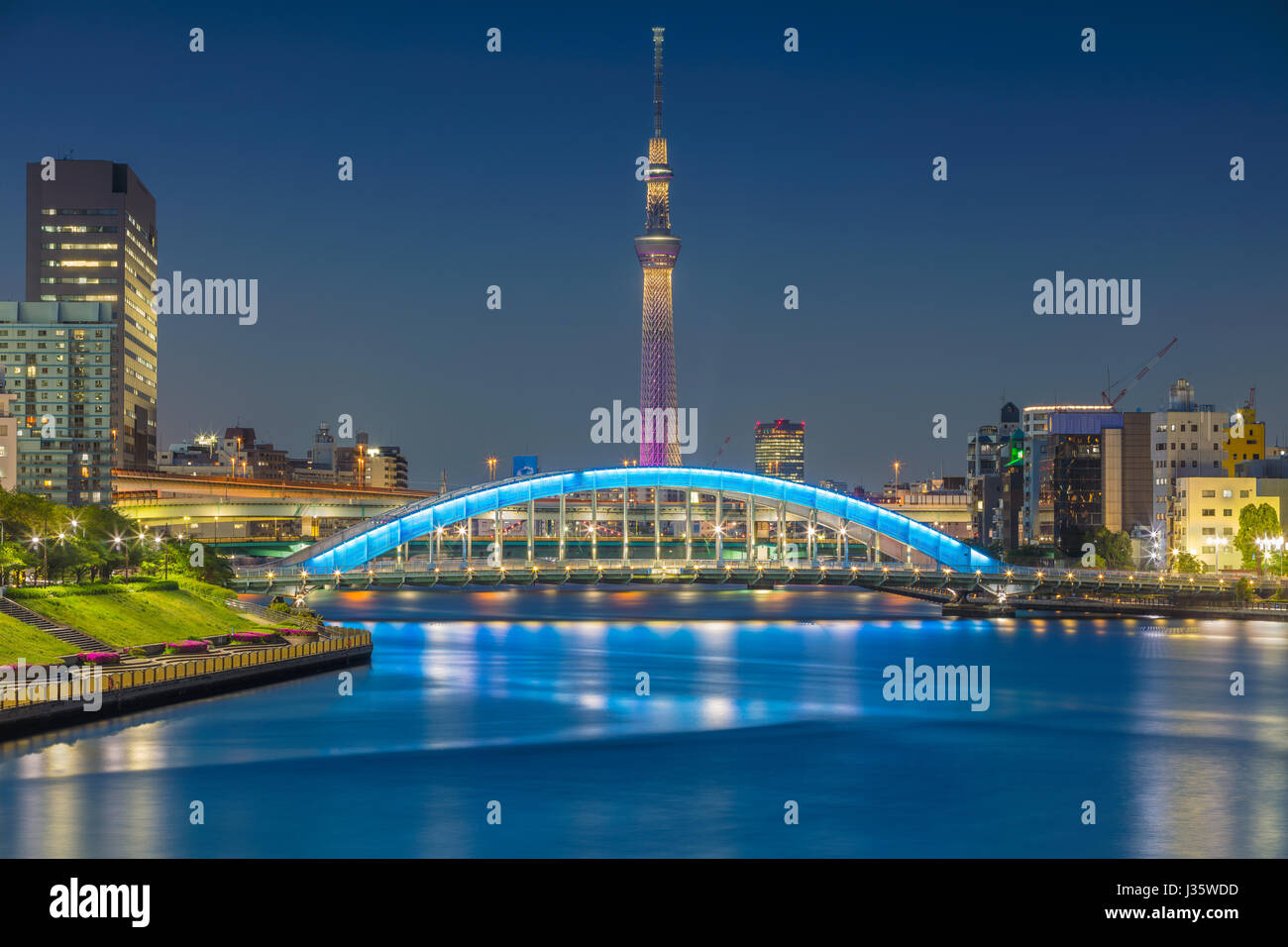 Tokyo. Cityscape image of Tokyo skyline during twilight in Japan. - Stock Image