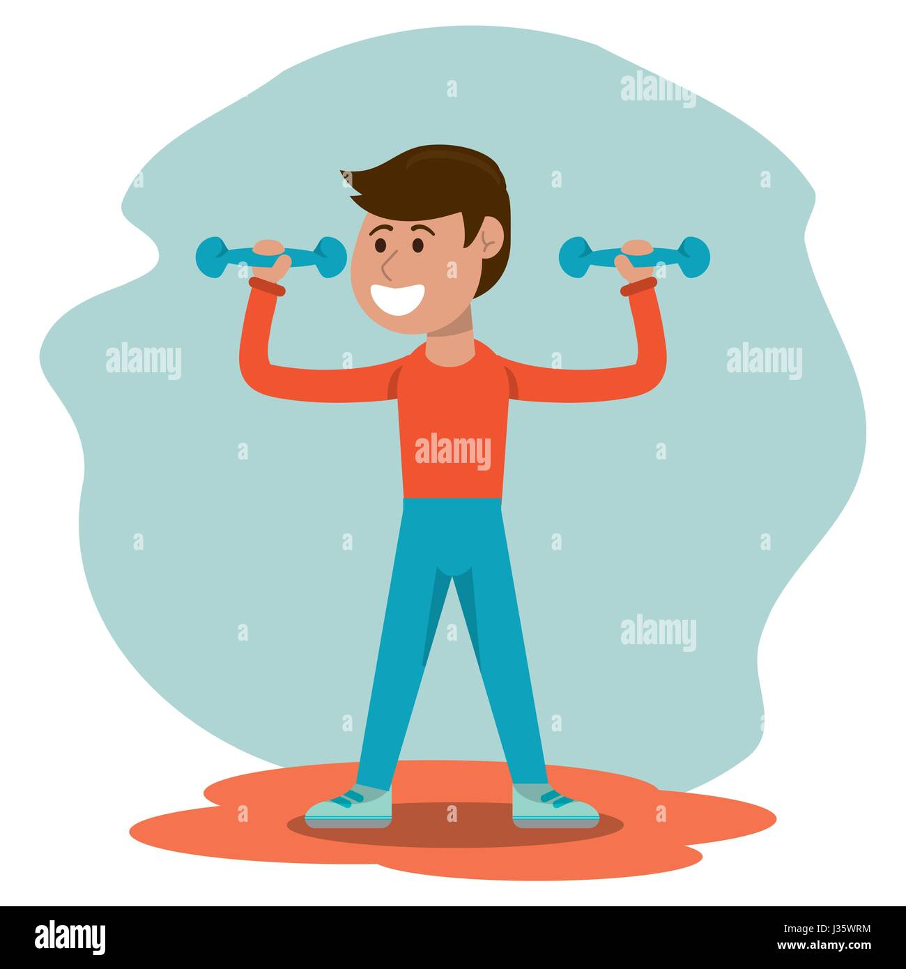 physical education - boy weight lifting physical education - Stock Image