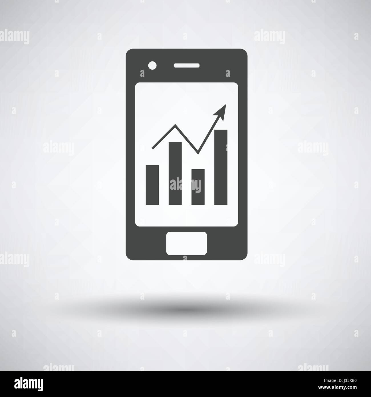 Smartphone With Analytics Diagram Icon On Gray Background Round