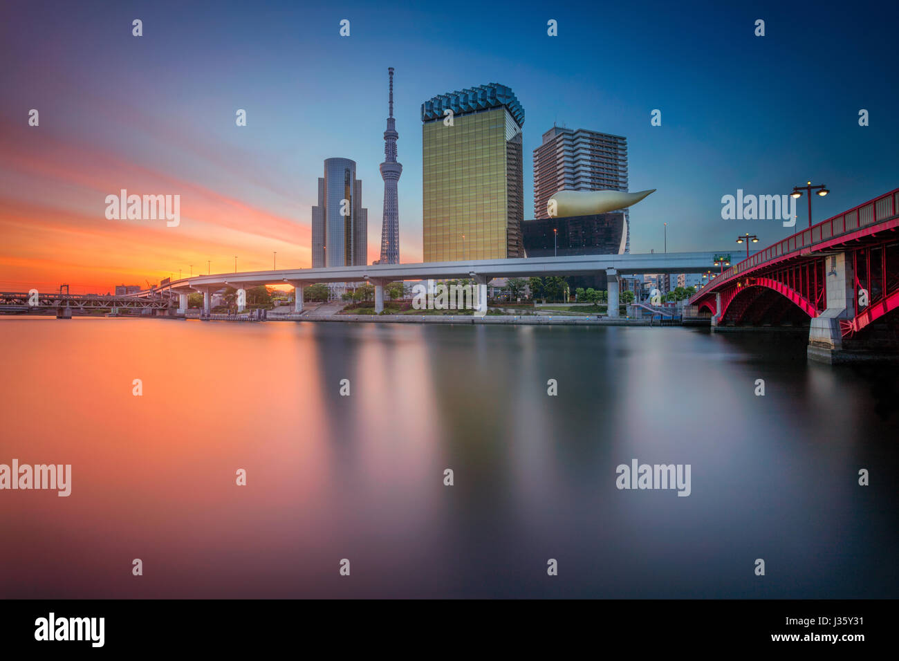 Tokyo. Cityscape image of Tokyo skyline during sunrise in Japan. - Stock Image