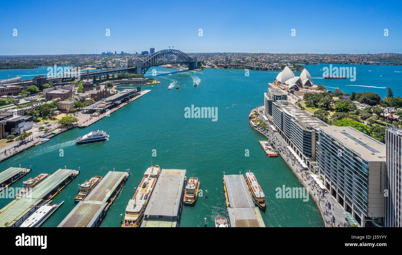 Australia, New South Wales, Sydney, view of Sydney Cove with Circular Quay, The Rocks, Harbour Bridge and Opera - Stock Image