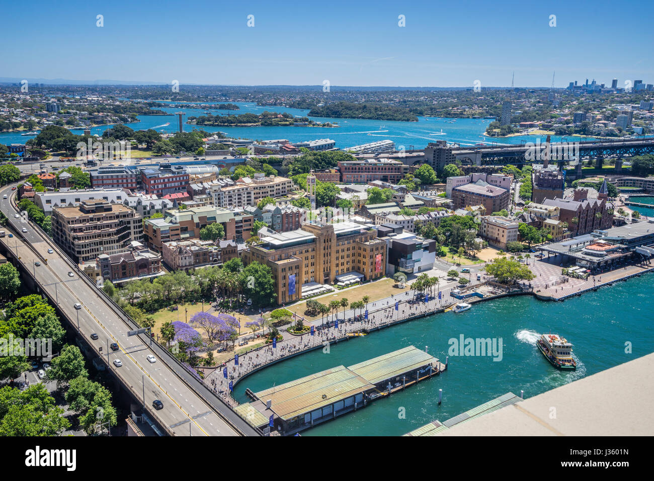 Australia, New South Wales, Sydney, aerial view of the Rocks with Circular Quay, the Museum of Contempory Art and - Stock Image