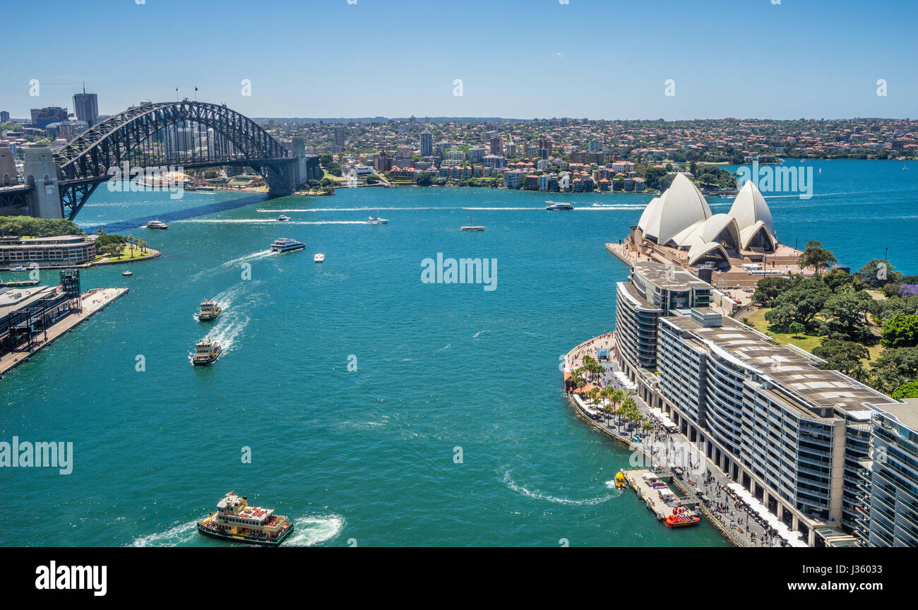 Australia, New South Wales, Sydney, aerial view of Sydney Cove with Harbour Bridge, the Opera House and Circular - Stock Image