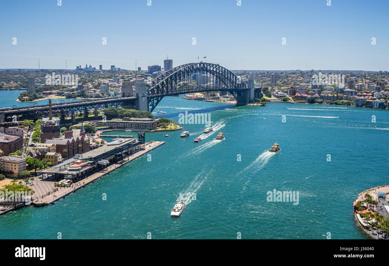 Australia, New South Wales, Sydney, aerial view of Sydney Cove with Overseas Passenger Terminal and the Harbour - Stock Image