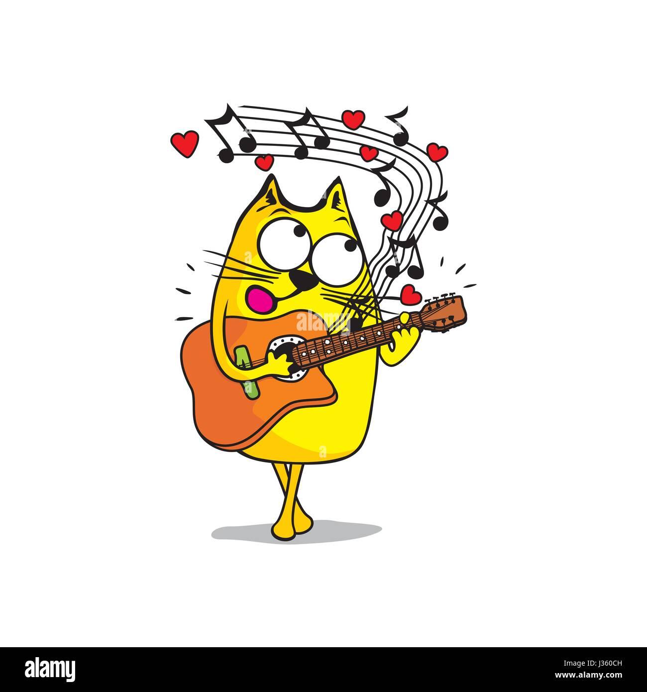 The cat sings a love serenade - Stock Vector