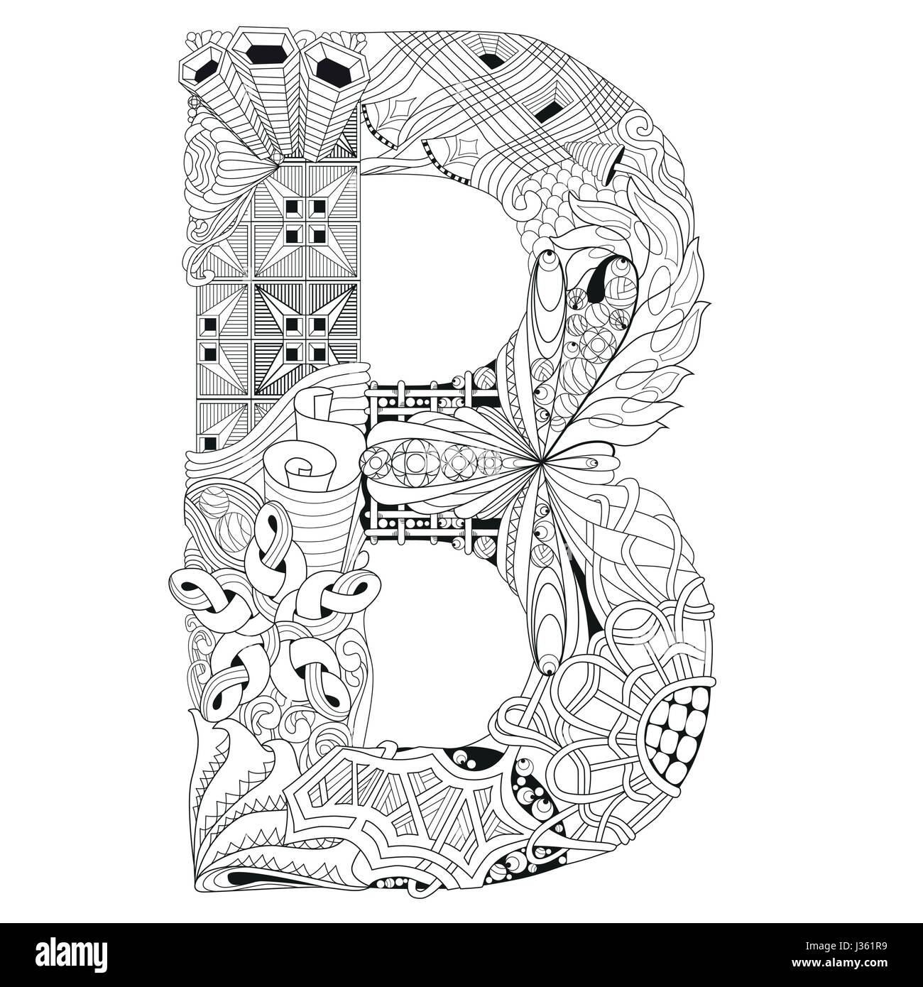 Letter B For Coloring Vector Decorative Zentangle Object