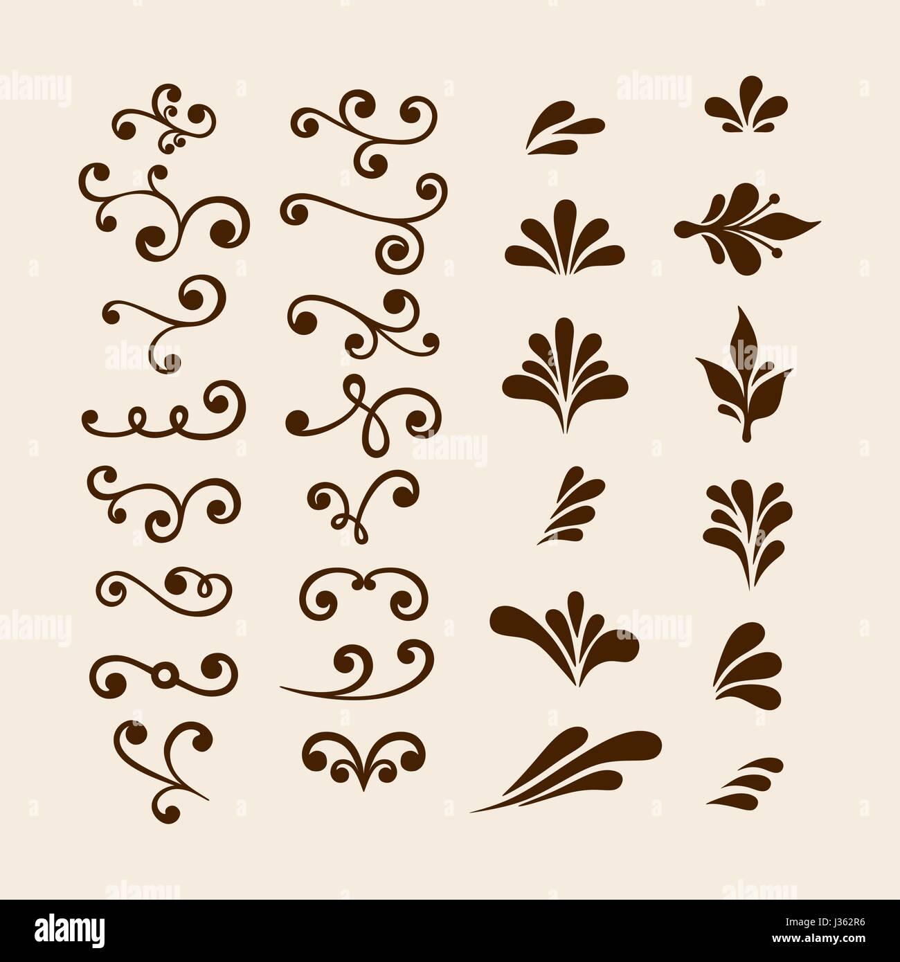 vector hand draw vintage floral design elements flowers decorative