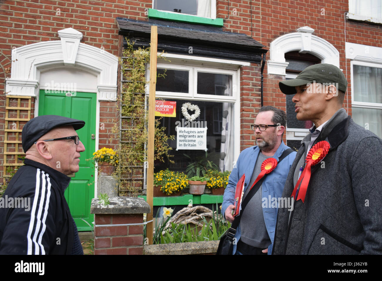 Clive Lewis, Labour MP for Norwich South, canvassing in Norwich 2 days before the local elections. 2 May 2017. UK - Stock Image