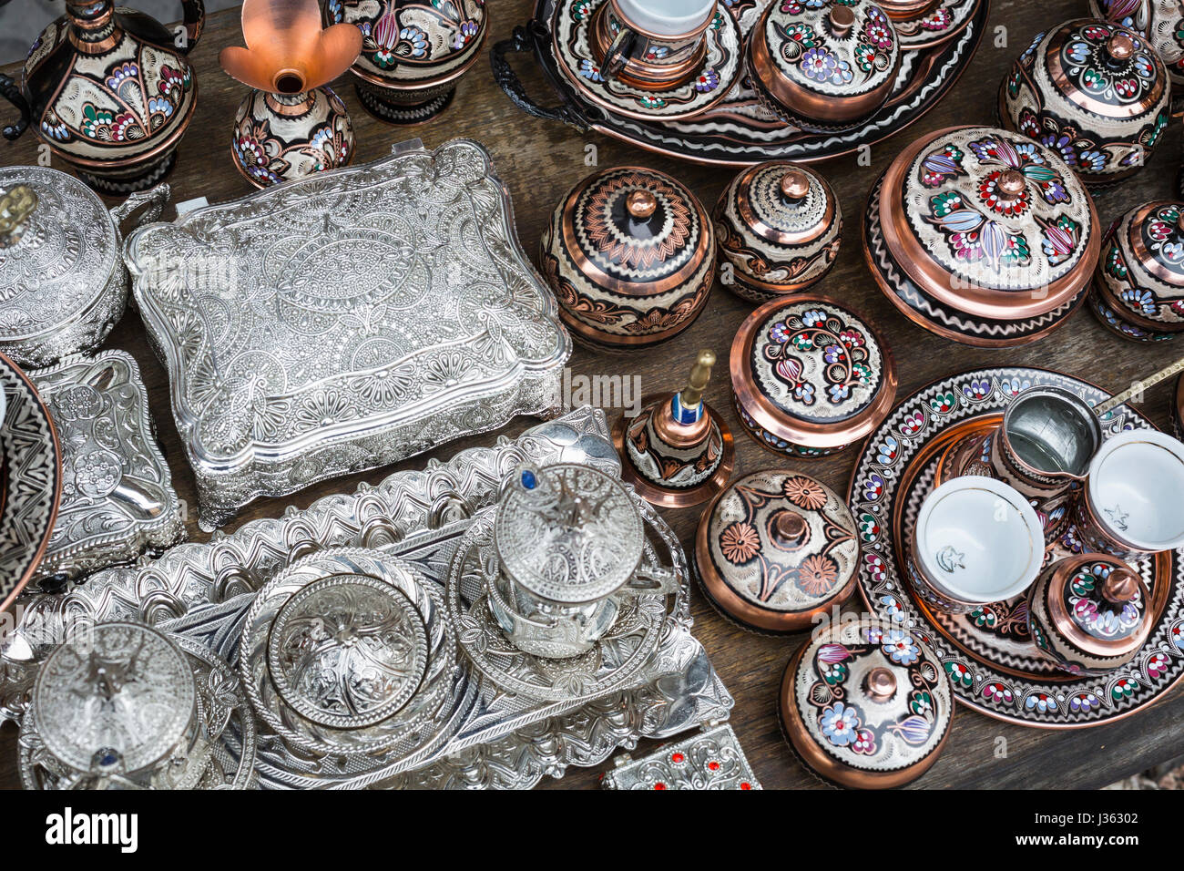 Traditional handcrafted copper coffee pots in souvenir shops in Sarajevo. Bosnia and Herzegovina. Stock Photo