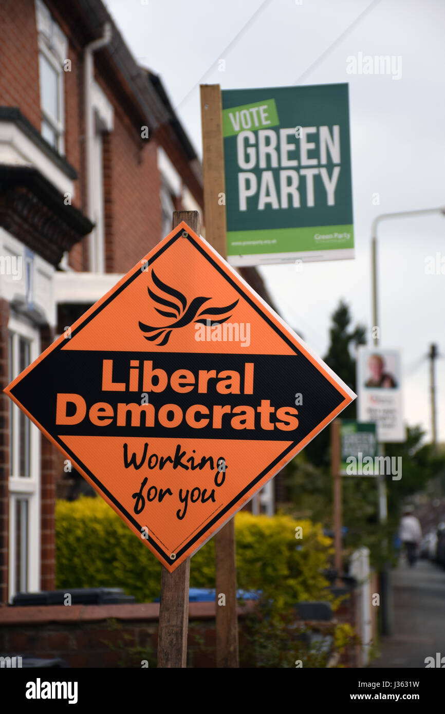 Norwich 2 days before the local elections. 2 May 2017. UK. Green Party & Liberal Democrats signs - Stock Image