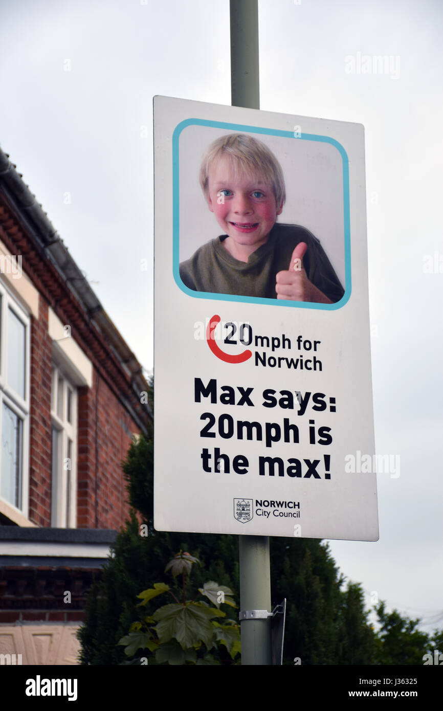 Traffic calming poster in Norwich, UK - Stock Image