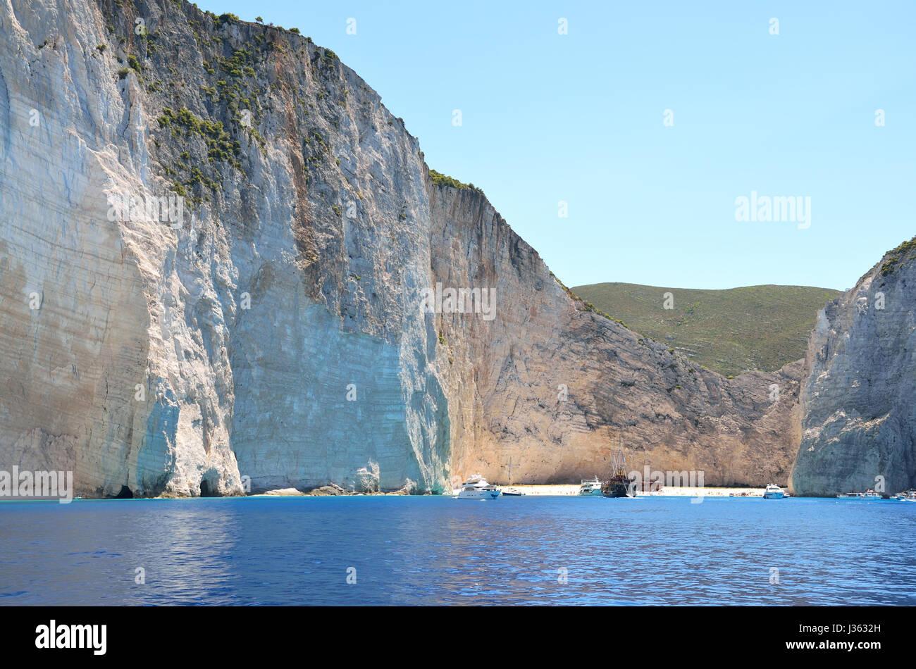 Shipwreck of Navagio beach at Zakynthos Stock Photo