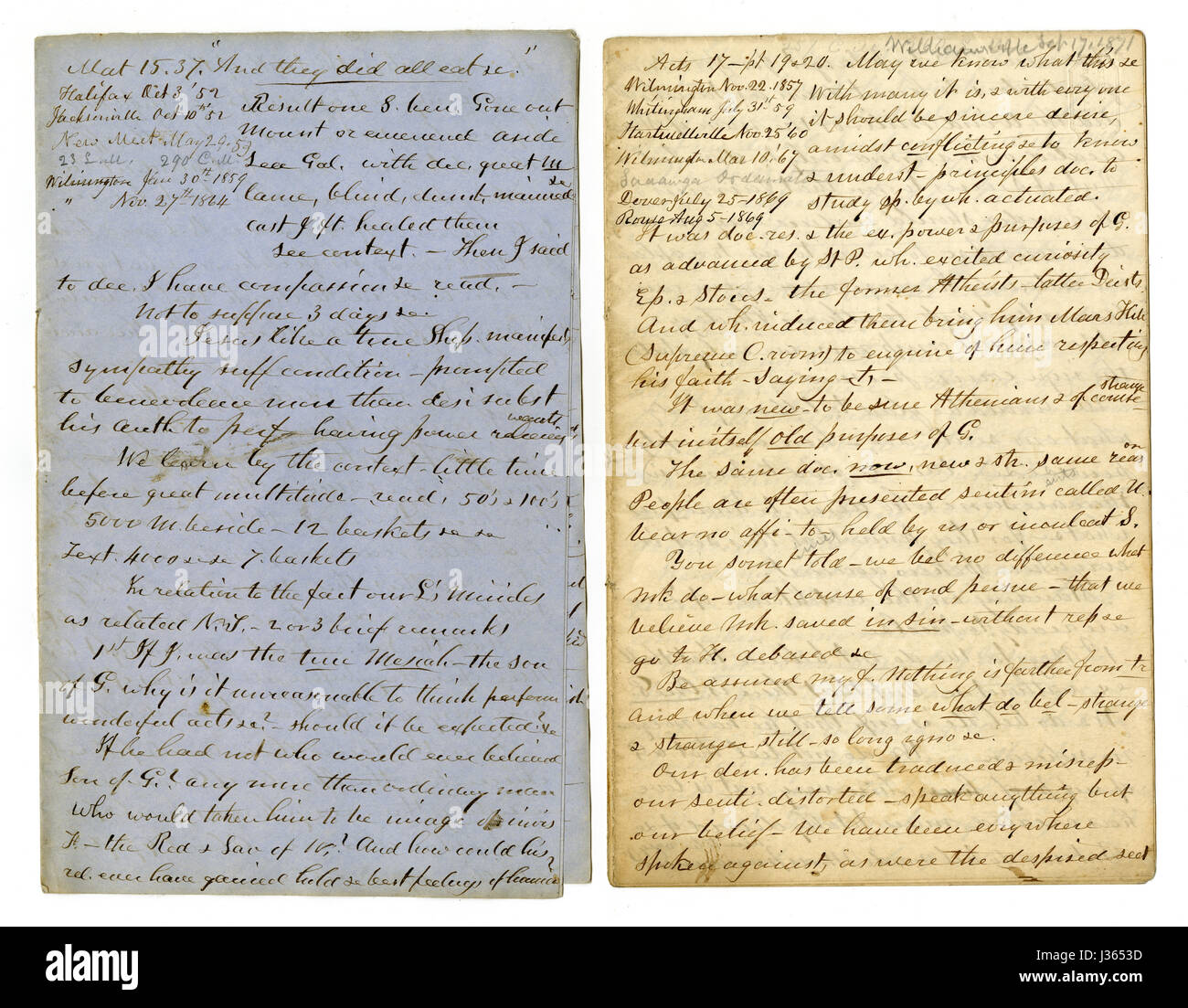 Antique c1860 hand written sermon from a traveling preacher. The one on the left draws from Matthew 15:37 'And - Stock Image