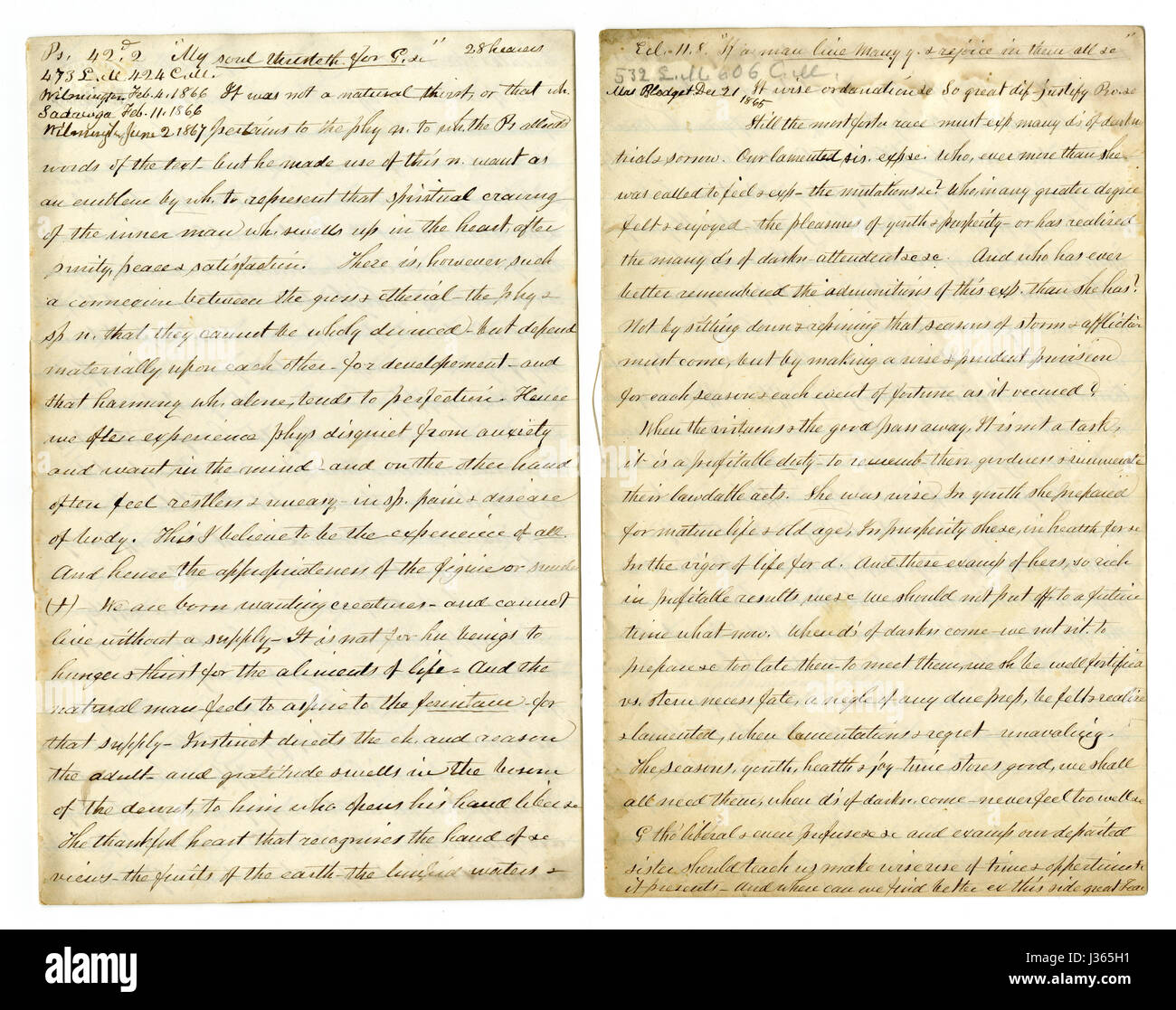 Antique c1860 hand written sermon from a traveling preacher. The one on the left draws from Psalms 42:2 'My - Stock Image