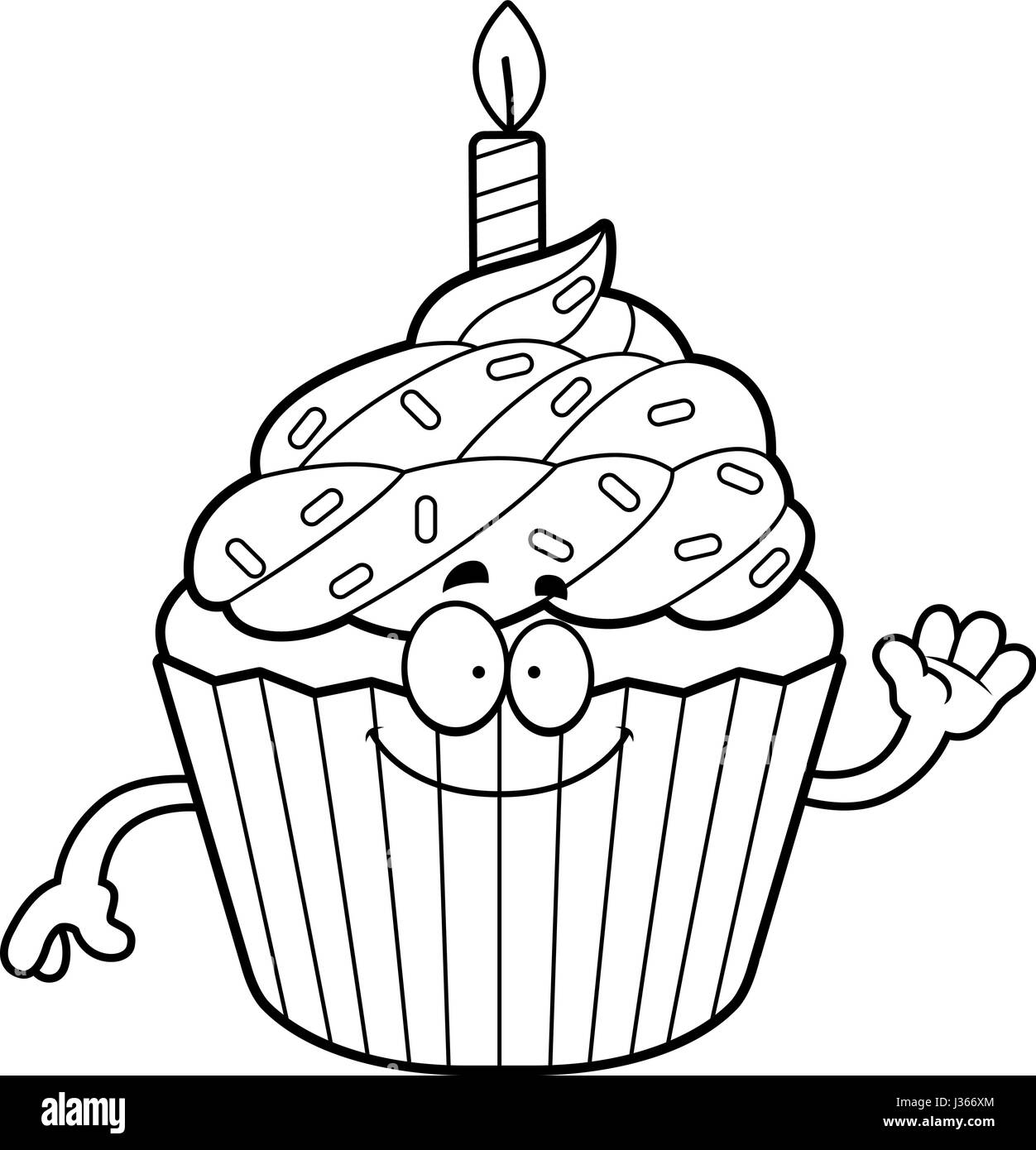 cartoon cupcake sprinkles smiling happy black and white stock photos