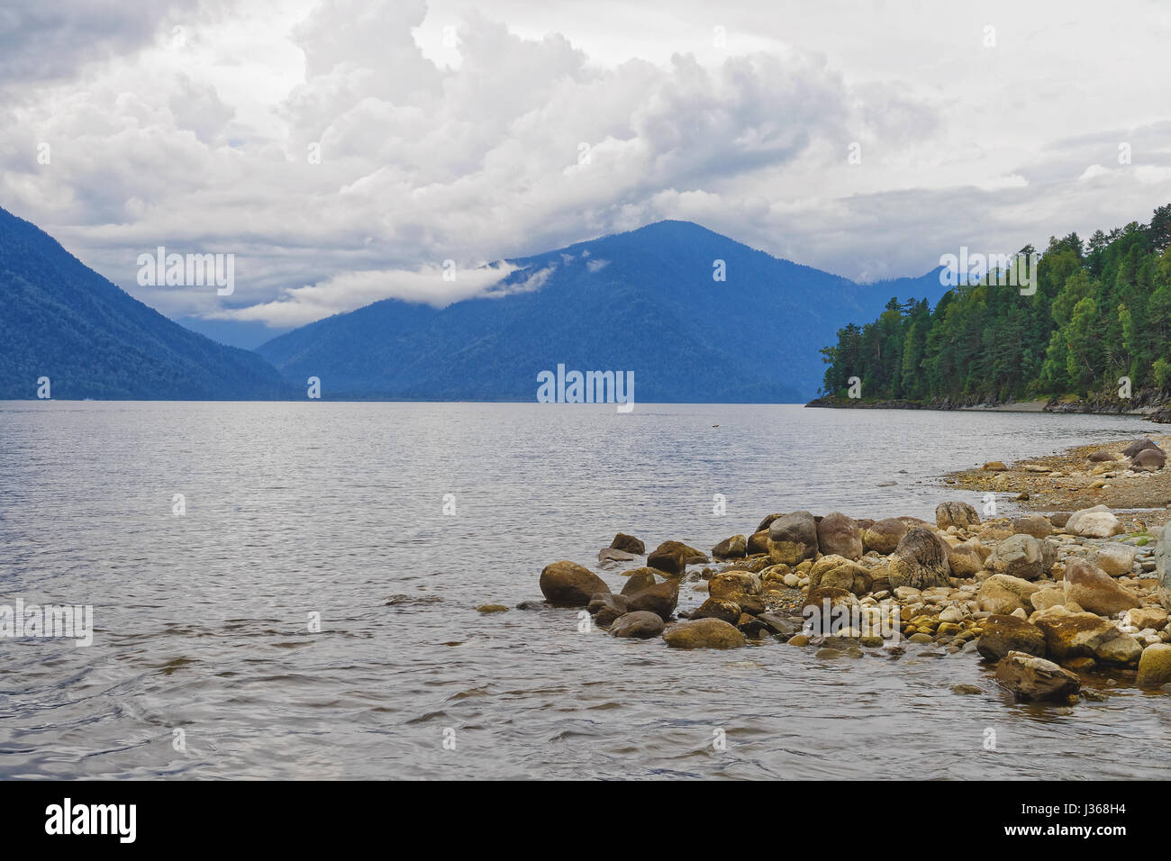 Mountain Altai, Teletskoe lake, view from the eastern shore Stock Photo