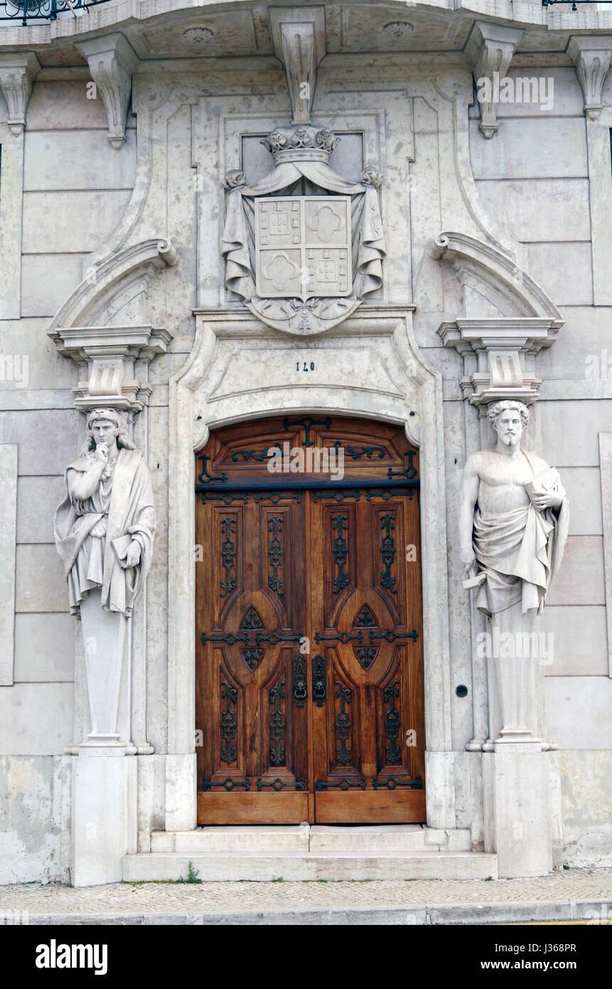 Elaborate Main door to the Office of the Procurodoria Geral da Republica, Attorney General's office, Lisbon, Portugal, - Stock Image