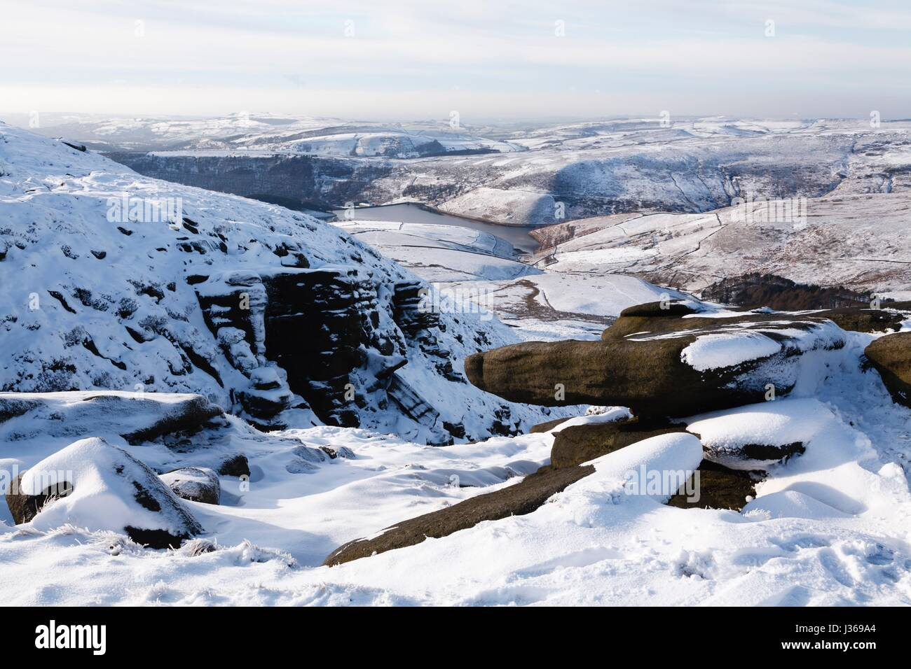 Kinder Reservoir viewed from Kinder Scout, Peak District, UK - Stock Image