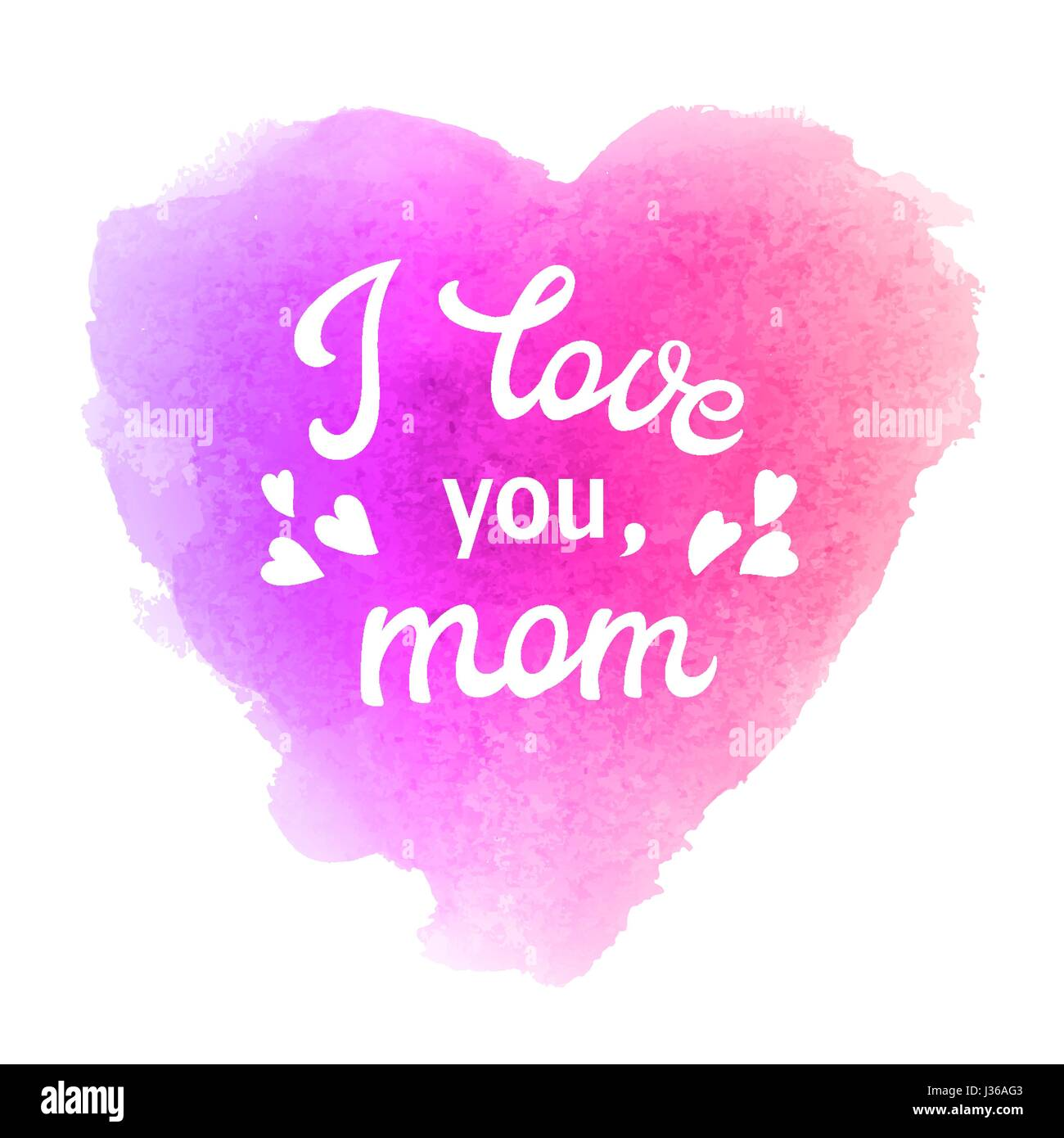 I love you mom greeting card with heart and hand lettering text on i love you mom greeting card with heart and hand lettering text on abstract pink and violet watercolor heart shaped soft background m4hsunfo