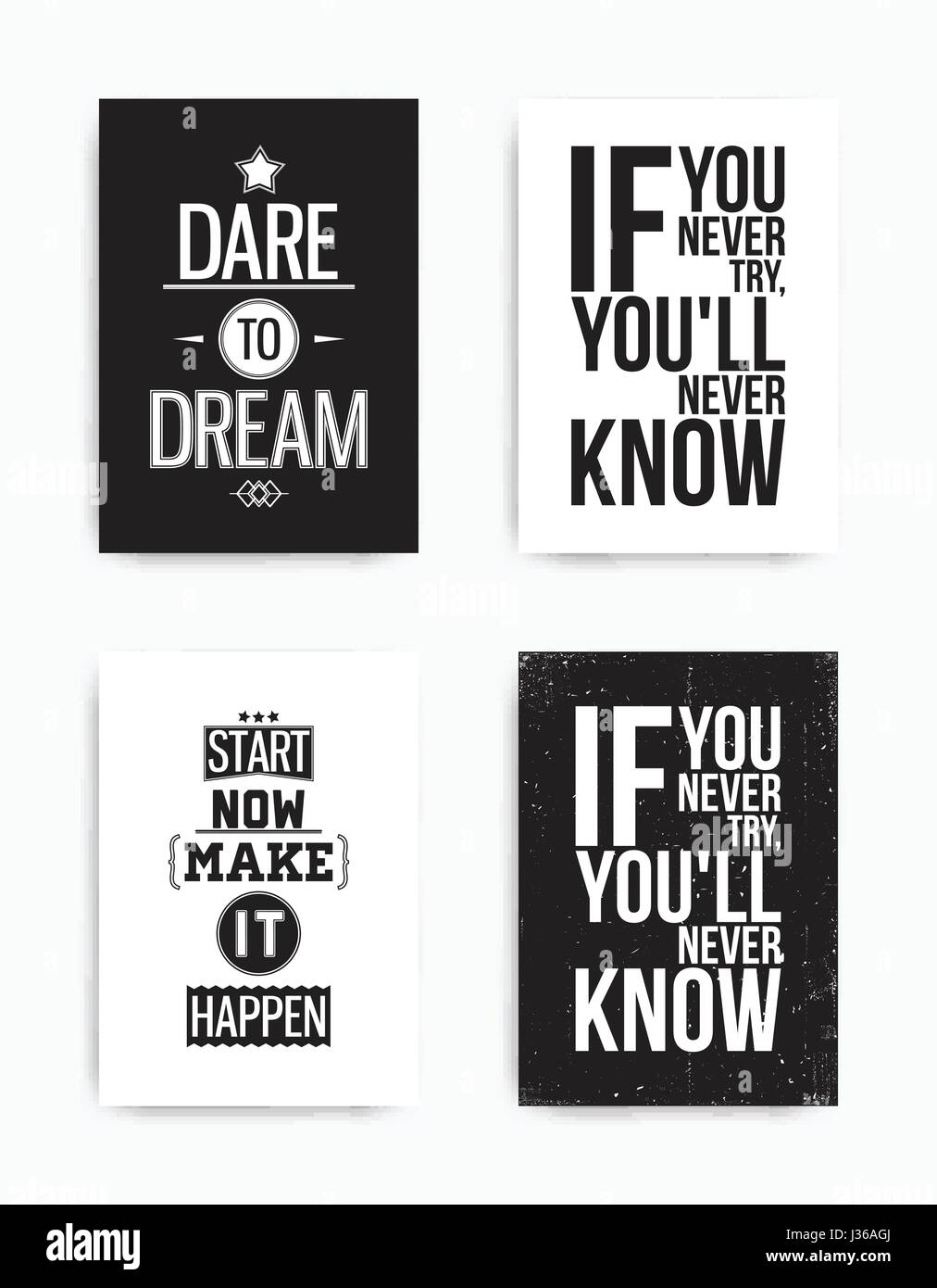 A Set Of Four Motivational Posters With Popular Quotes Black And