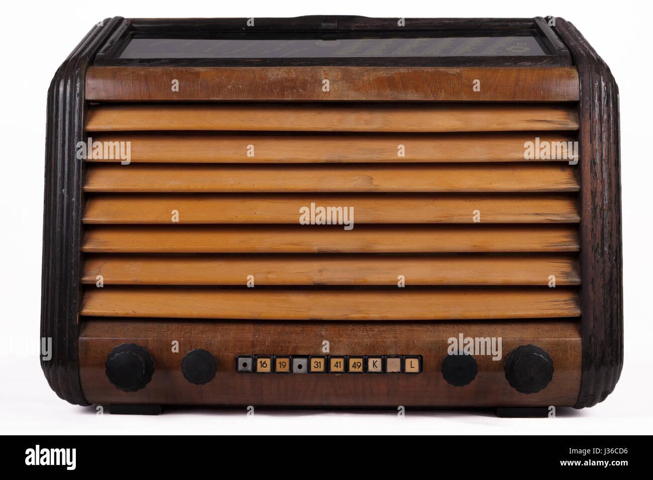 Old retro table tube radio isolated on white background Stock Photo