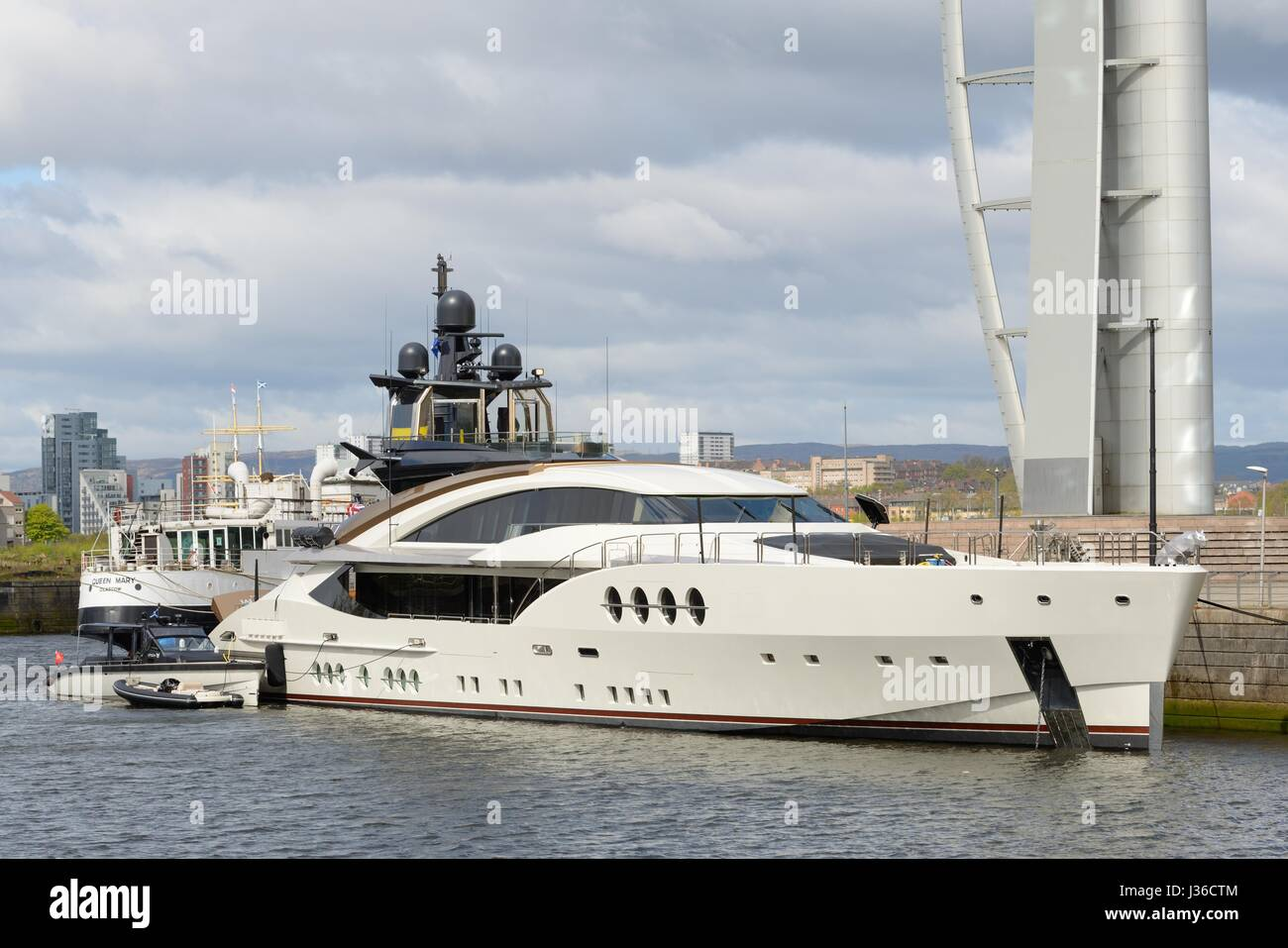 The Superyacht, Lady M, which belongs to Russian billionaire Alexei Mordashov, docked at the Canting Basin, North - Stock Image