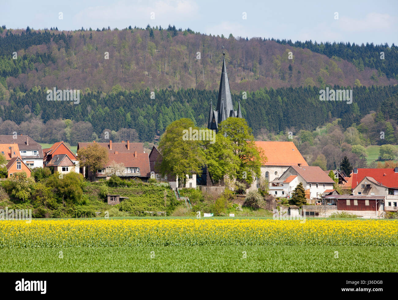 Curch and village of Bodenfelde, district of Northeim, Lower Saxony, Germany - Stock Image