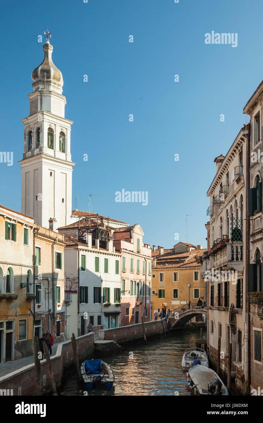 Sant'Antonin church in Castello district of Venice. - Stock Image