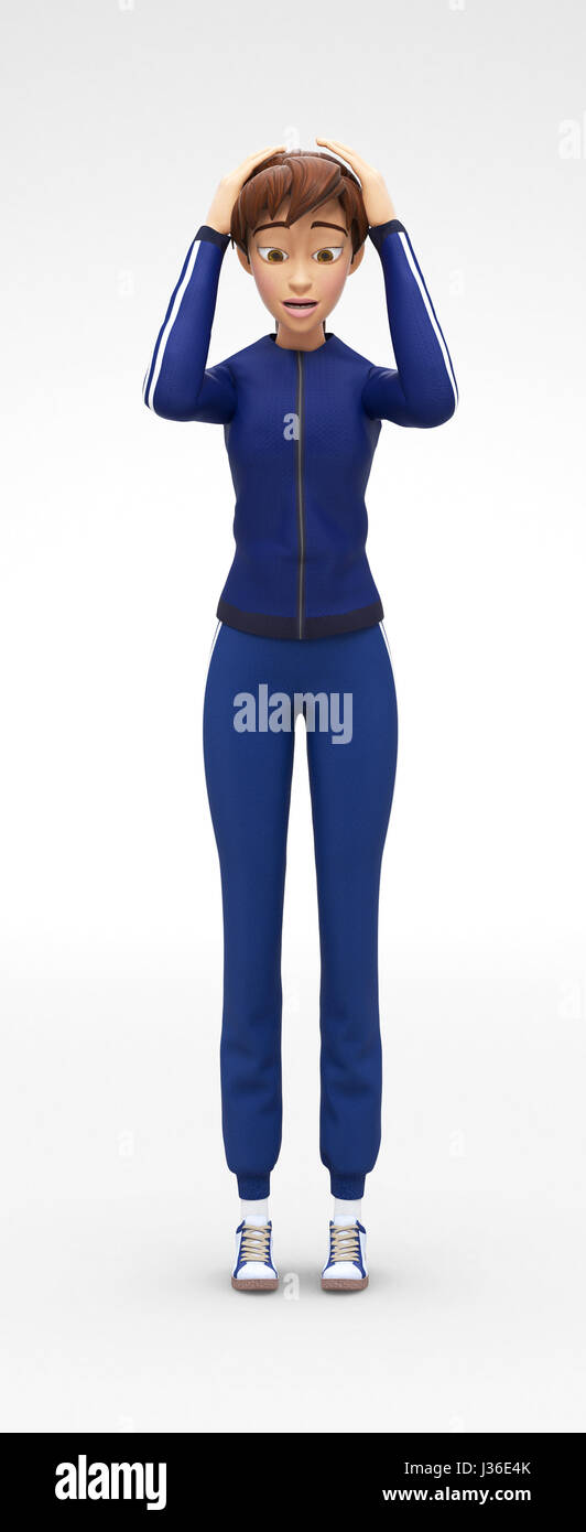 Panicky, Restless and Discouraged Jenny - 3D Cartoon Female Character Sports Model - Scared, Puzzled by Problem Stock Photo