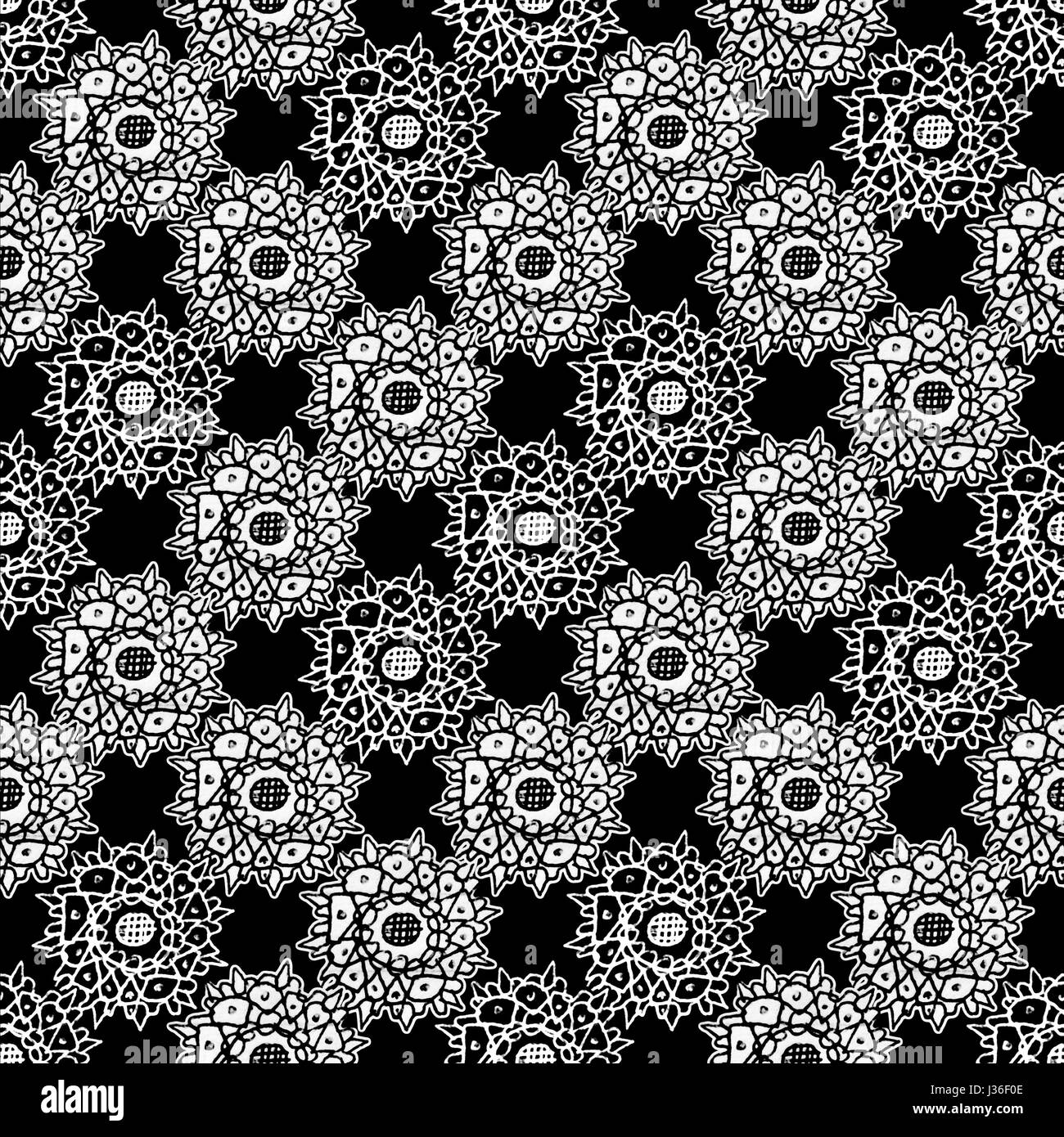 Mixed media collage technique stars motif hand draw graphic ornate seamless pattern design in black and white colors Stock Photo